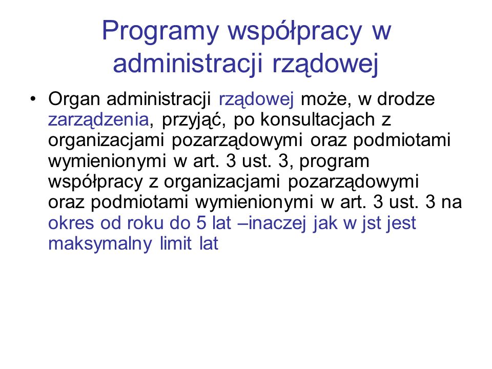 Programy współpracy w administracji rządowej