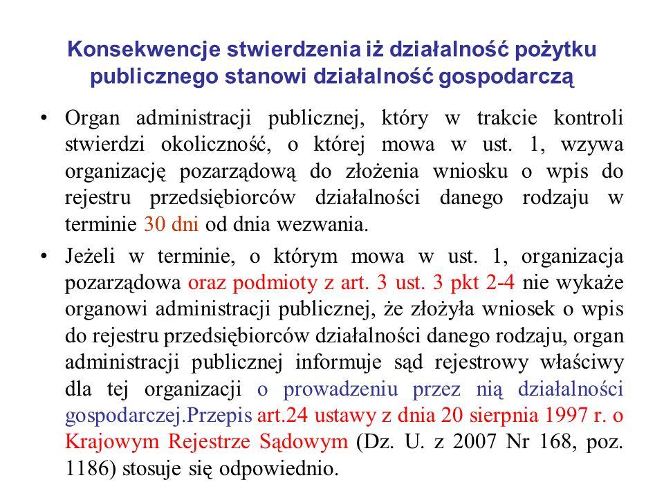 Konsekwencje stwierdzenia iż działalność pożytku publicznego stanowi działalność gospodarczą