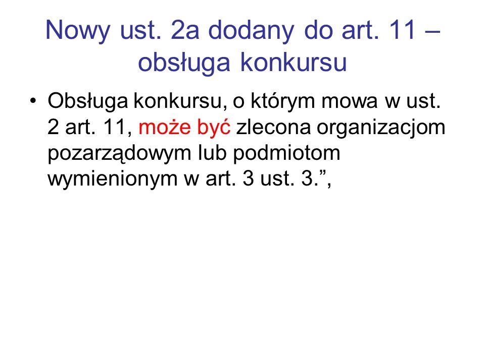Nowy ust. 2a dodany do art. 11 –obsługa konkursu