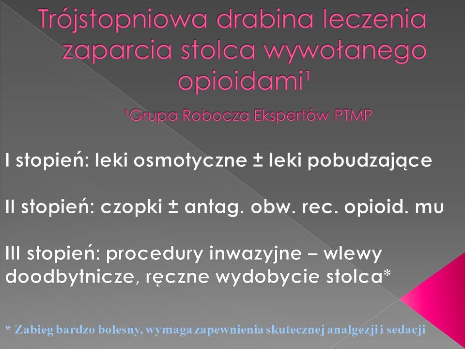 Trójstopniowa drabina leczenia zaparcia stolca wywołanego opioidami¹ ¹Grupa Robocza Ekspertów PTMP