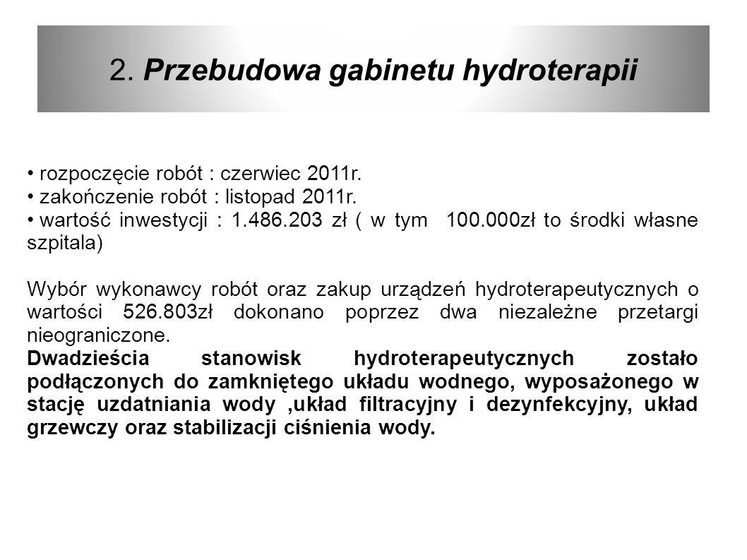 2. Przebudowa gabinetu hydroterapii