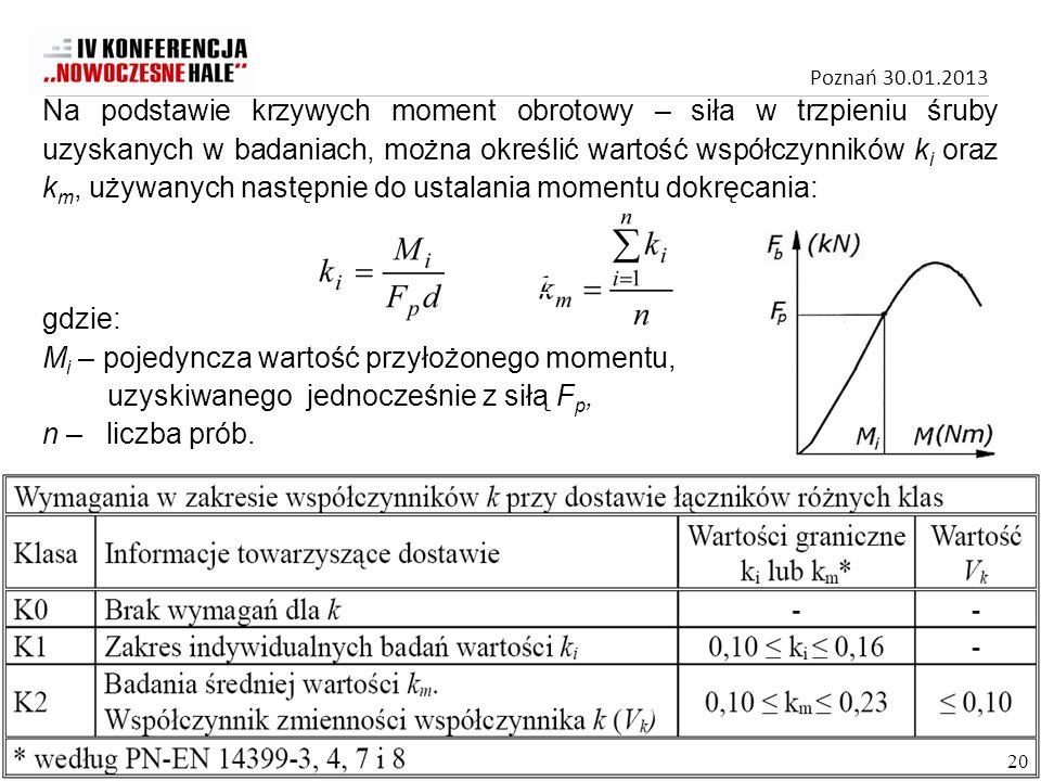 Na podstawie krzywych moment obrotowy – siła w trzpieniu śruby uzyskanych w badaniach, można określić wartość współczynników ki oraz km, używanych następnie do ustalania momentu dokręcania: