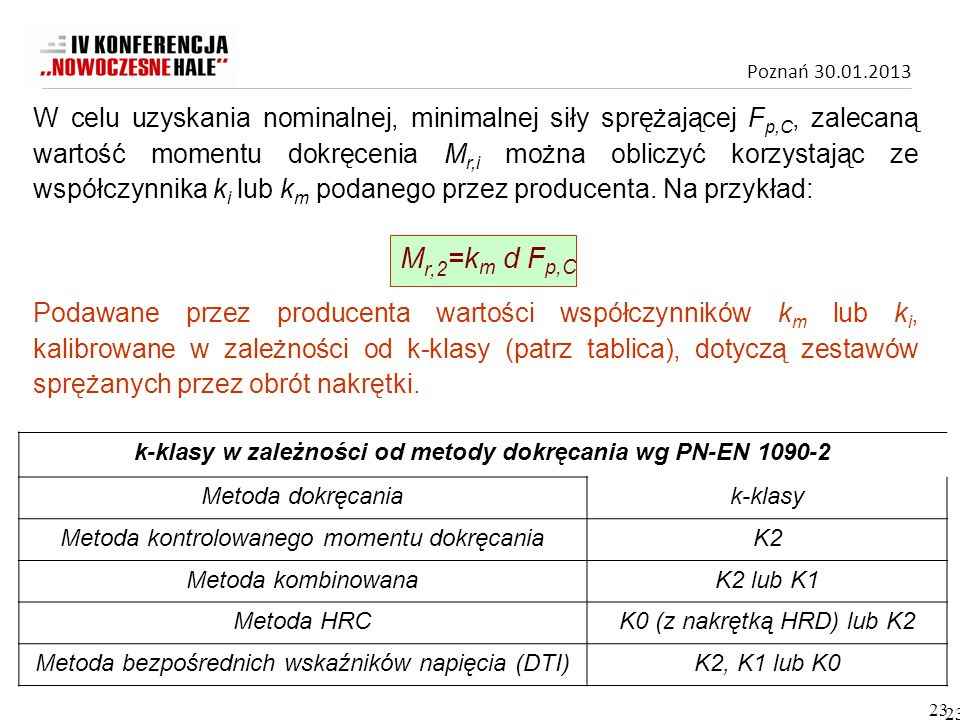 k-klasy w zależności od metody dokręcania wg PN-EN 1090-2