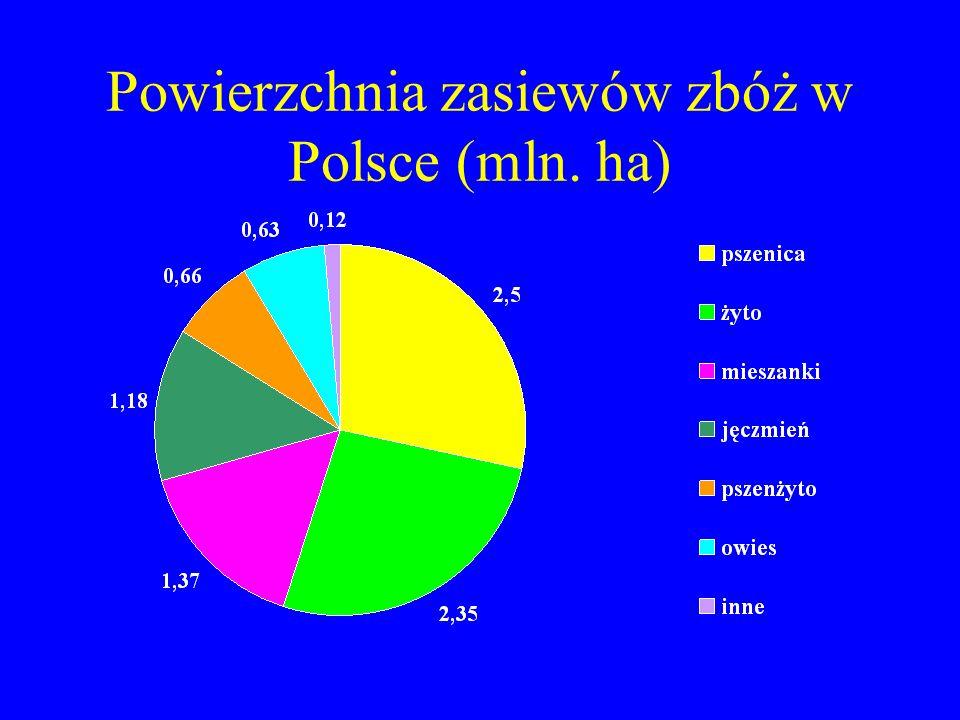 Powierzchnia zasiewów zbóż w Polsce (mln. ha)