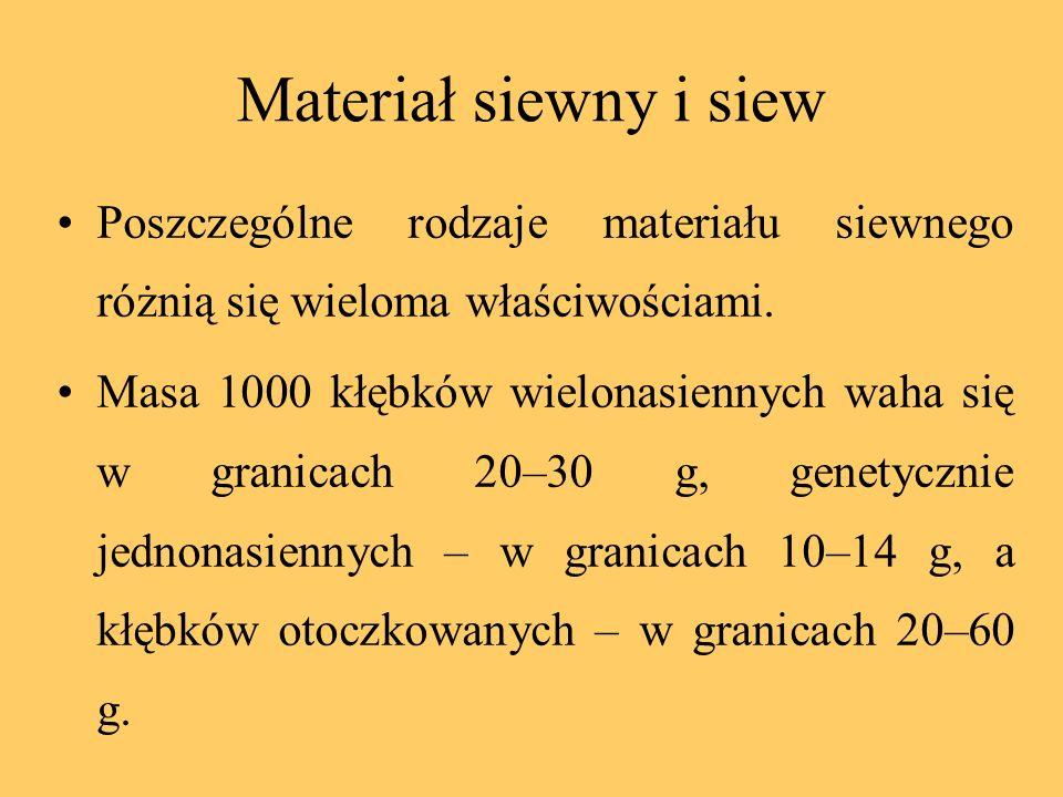 Materiał siewny i siew Poszczególne rodzaje materiału siewnego różnią się wieloma właściwościami.