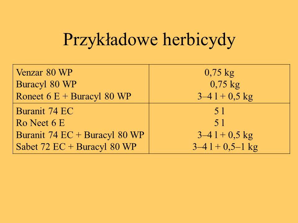 Przykładowe herbicydy