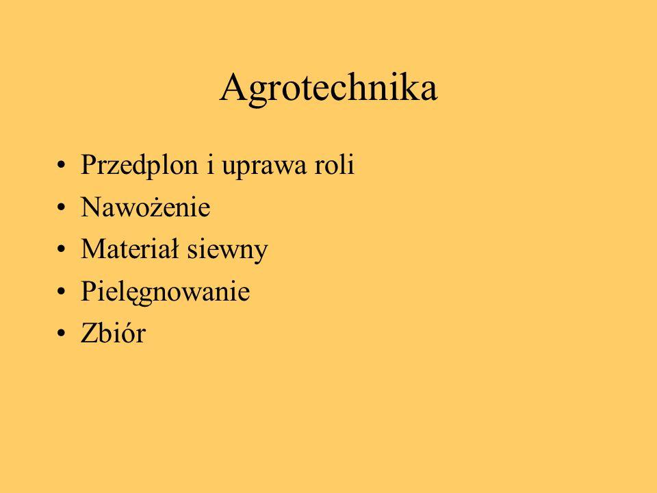 Agrotechnika Przedplon i uprawa roli Nawożenie Materiał siewny