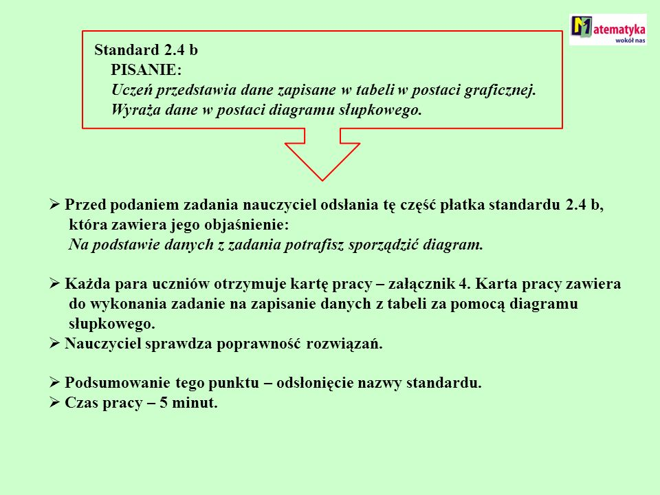 Standard 2.4 b PISANIE: Uczeń przedstawia dane zapisane w tabeli w postaci graficznej.