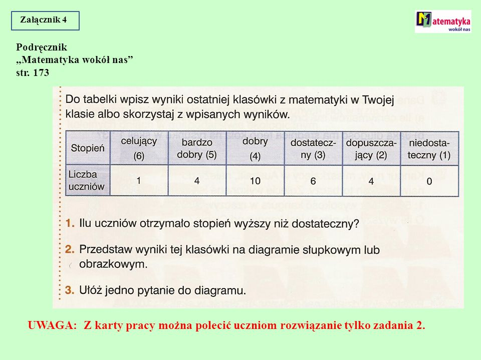 """Załącznik 4 Podręcznik """"Matematyka wokół nas str."""