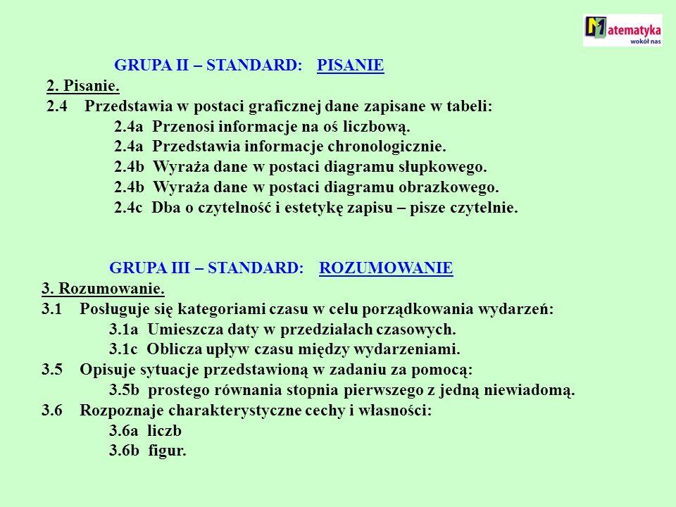 GRUPA II – STANDARD: PISANIE. 2. Pisanie. 2