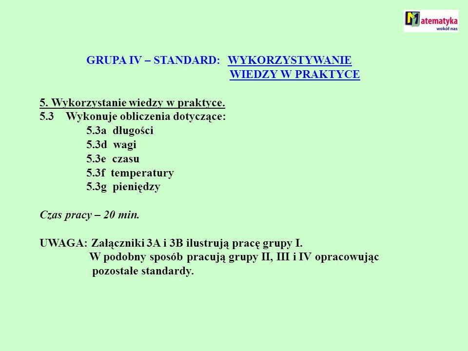 GRUPA IV – STANDARD: WYKORZYSTYWANIE. WIEDZY W PRAKTYCE 5