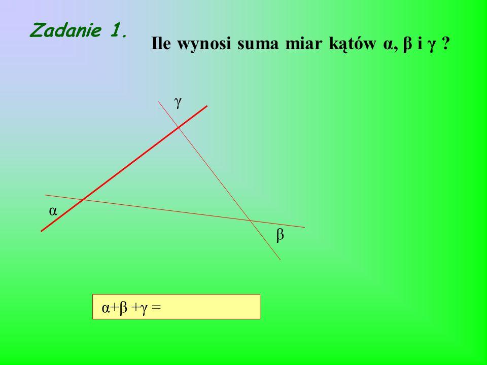 Ile wynosi suma miar kątów α, β i γ