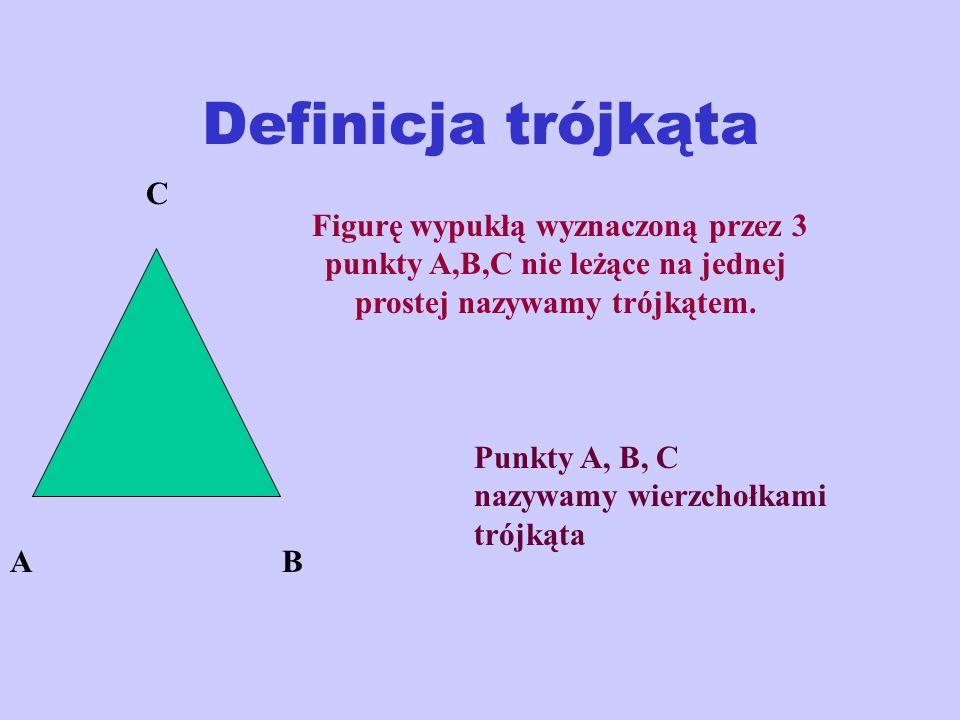 Definicja trójkąta C. Figurę wypukłą wyznaczoną przez 3 punkty A,B,C nie leżące na jednej prostej nazywamy trójkątem.