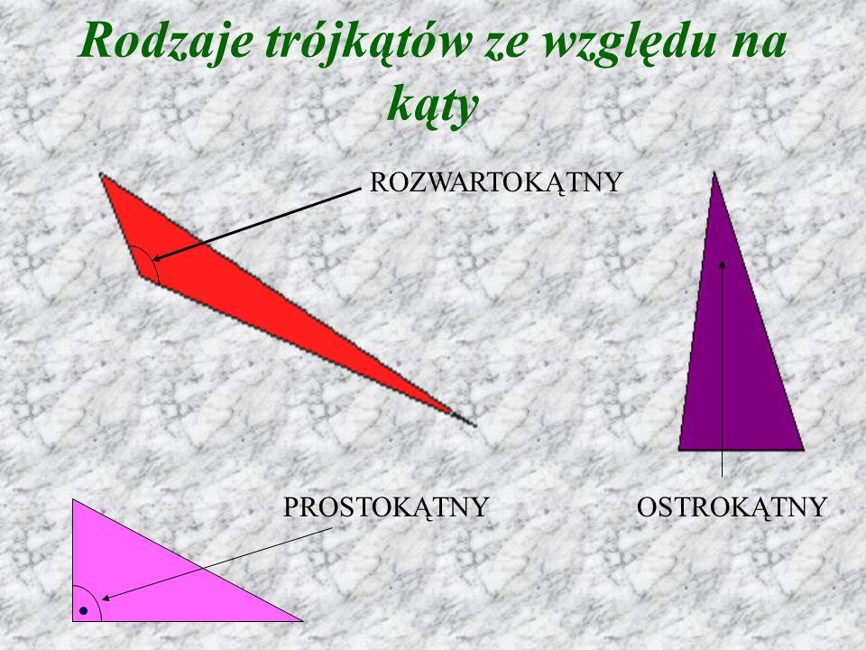 Rodzaje trójkątów ze względu na kąty