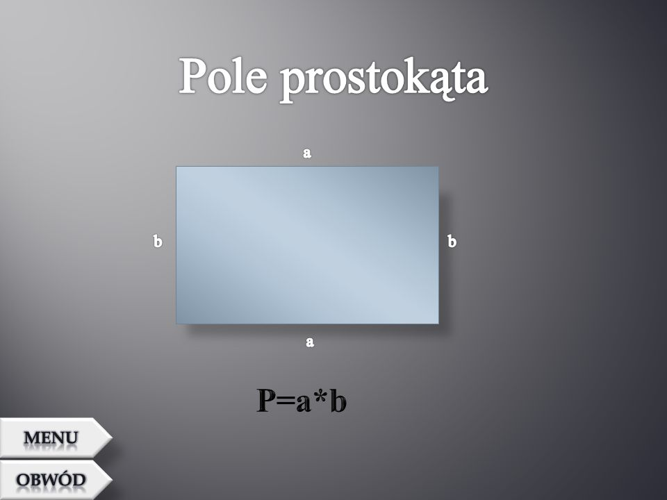 Pole prostokąta a b b a P=a*b MENU OBWÓD