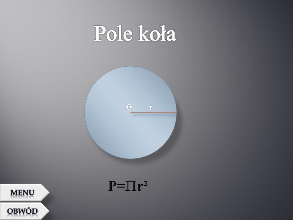 Pole koła O r P=r² MENU OBWÓD