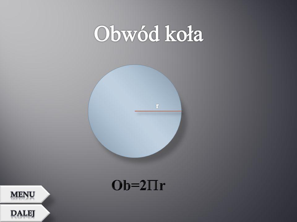 Obwód koła r Ob=2r MENU Dalej