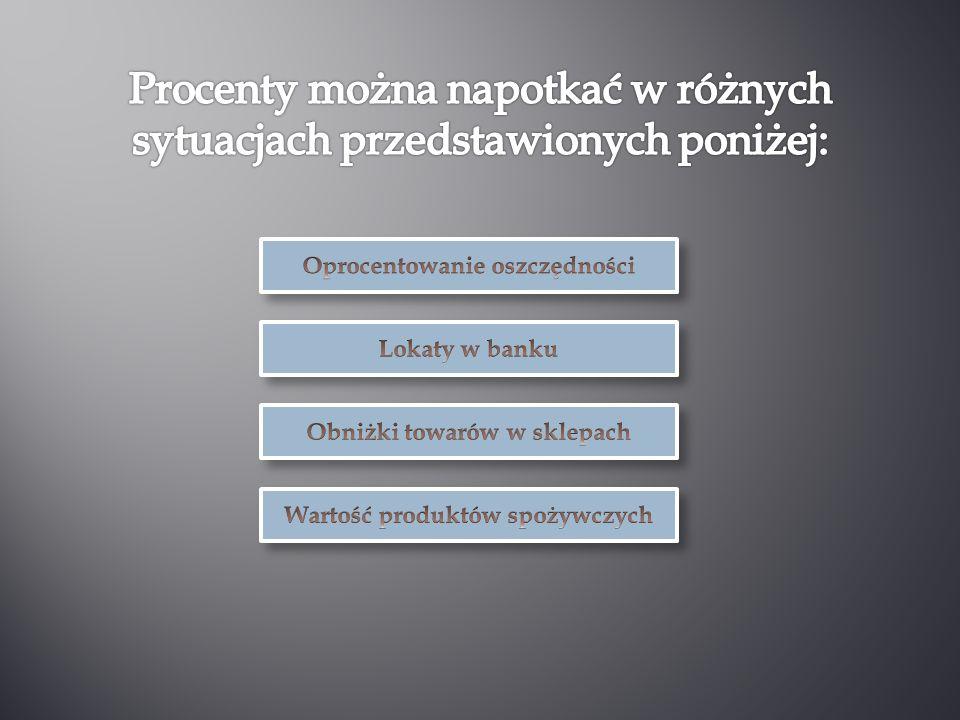 Procenty można napotkać w różnych sytuacjach przedstawionych poniżej: