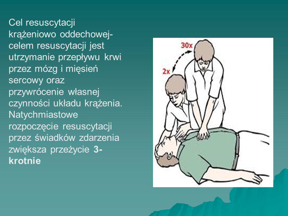 Cel resuscytacji krążeniowo oddechowej-celem resuscytacji jest utrzymanie przepływu krwi przez mózg i mięsień sercowy oraz przywrócenie własnej czynności układu krążenia.