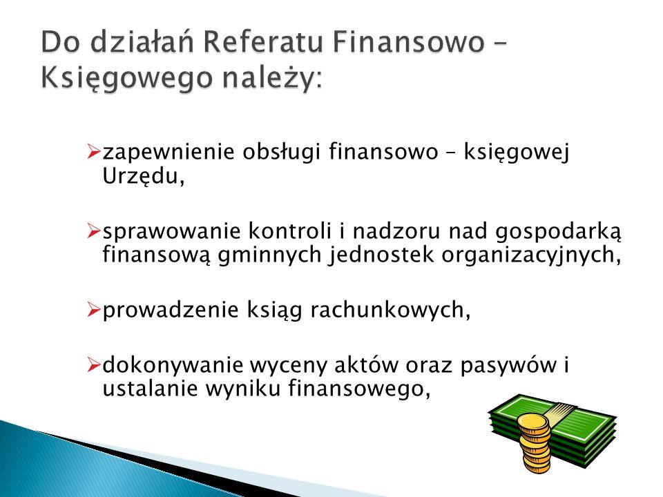 Do działań Referatu Finansowo – Księgowego należy: