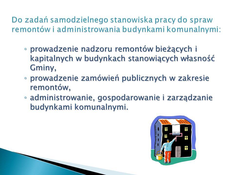 Do zadań samodzielnego stanowiska pracy do spraw remontów i administrowania budynkami komunalnymi: