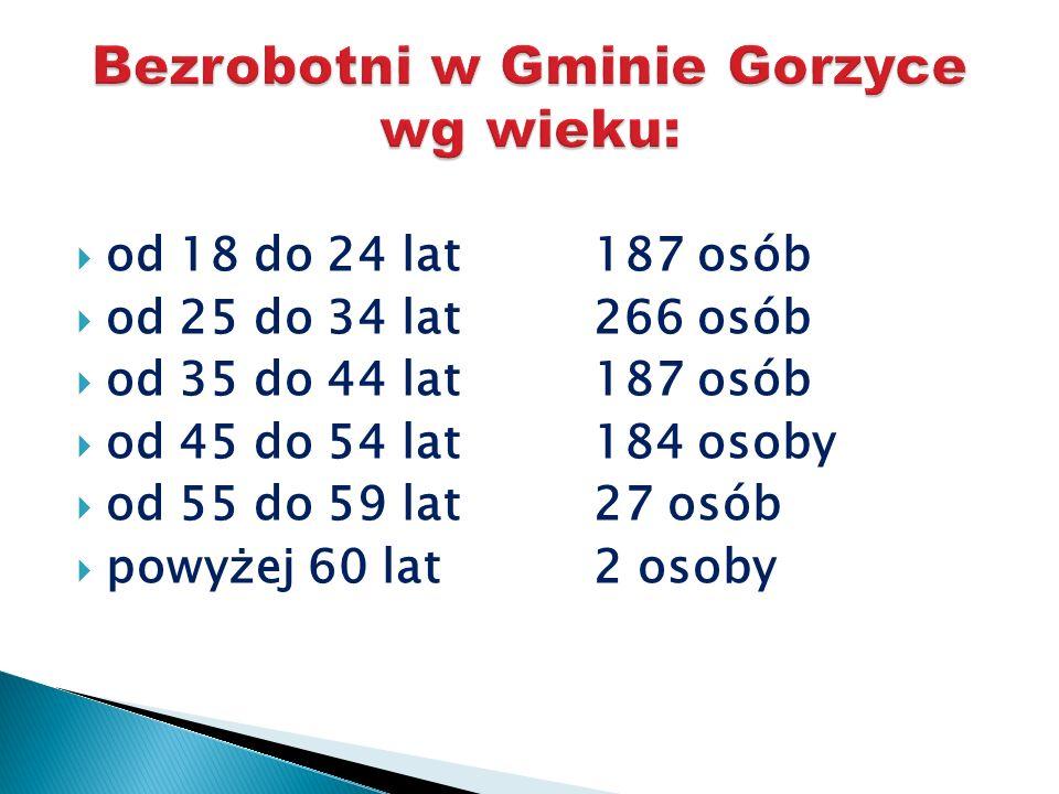 Bezrobotni w Gminie Gorzyce wg wieku: