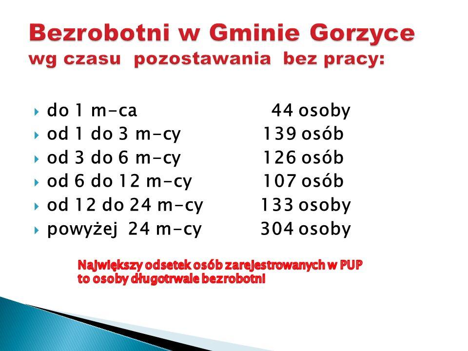 Bezrobotni w Gminie Gorzyce wg czasu pozostawania bez pracy: