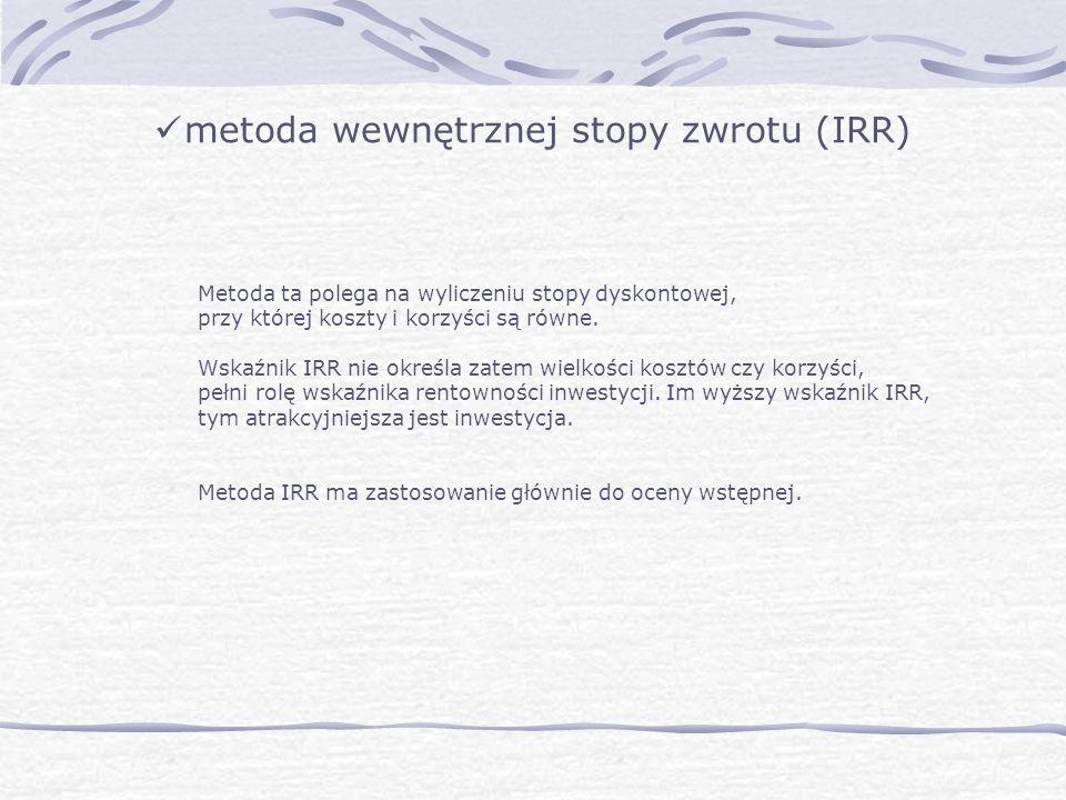 metoda wewnętrznej stopy zwrotu (IRR)