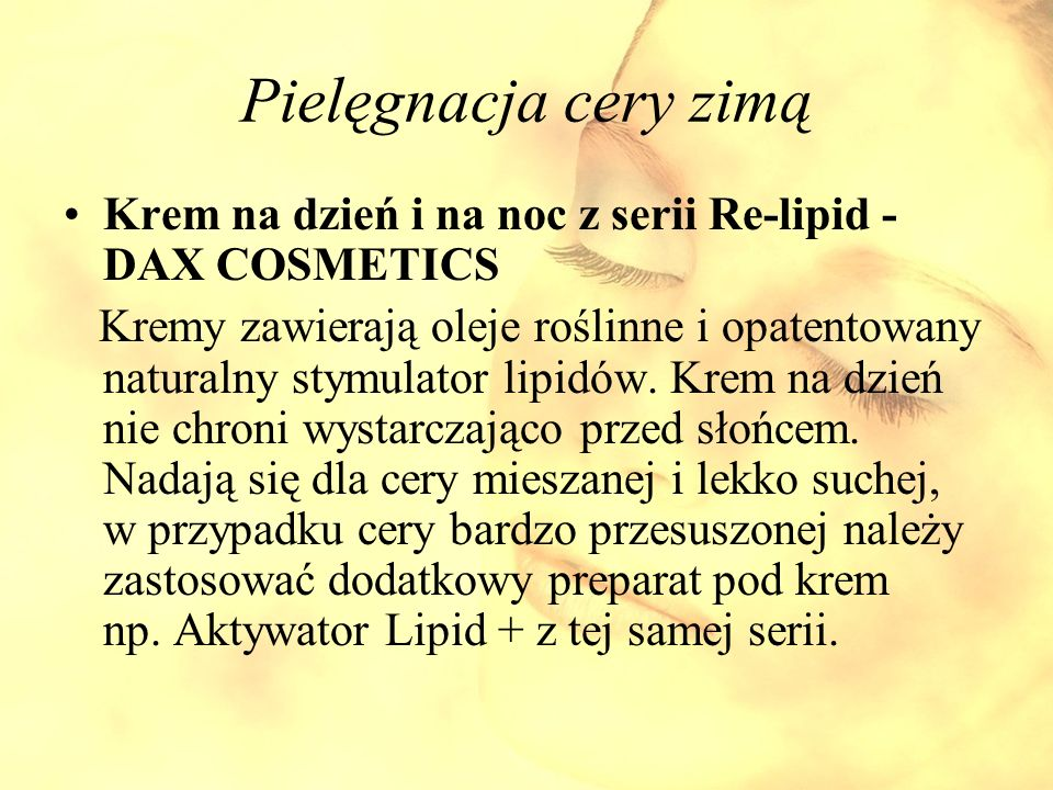 Pielęgnacja cery zimą Krem na dzień i na noc z serii Re-lipid - DAX COSMETICS.