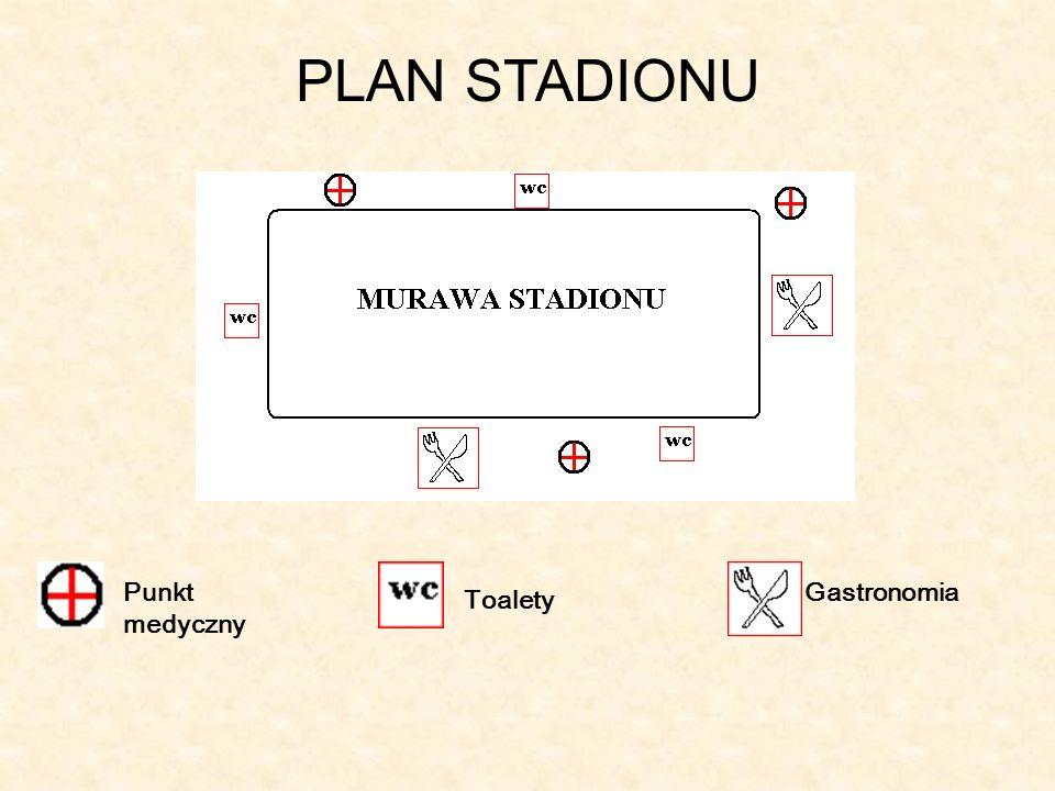 PLAN STADIONU Punkt medyczny Gastronomia Toalety