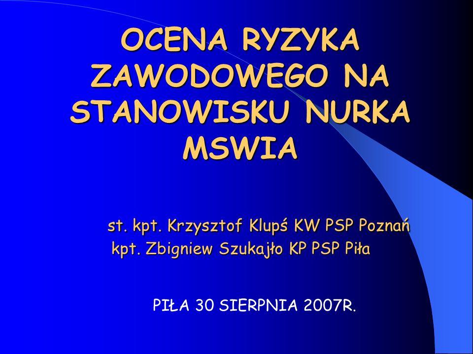 OCENA RYZYKA ZAWODOWEGO NA STANOWISKU NURKA MSWIA st. kpt