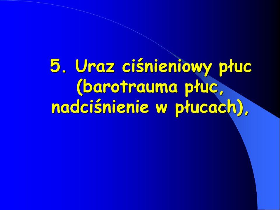 5. Uraz ciśnieniowy płuc (barotrauma płuc, nadciśnienie w płucach),