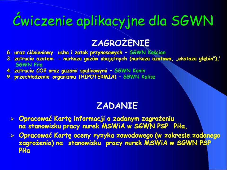 Ćwiczenie aplikacyjne dla SGWN