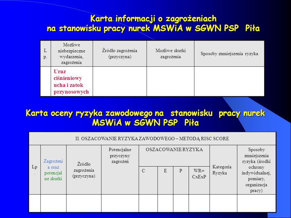 Karta informacji o zagrożeniach na stanowisku pracy nurek MSWiA w SGWN PSP Piła