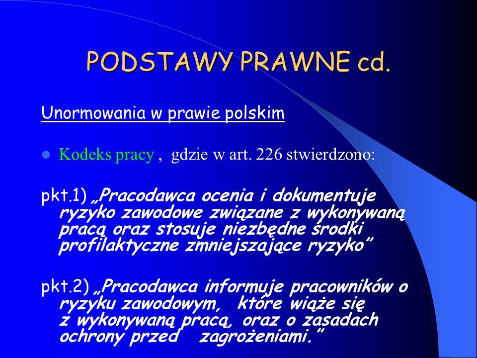 PODSTAWY PRAWNE cd. Unormowania w prawie polskim