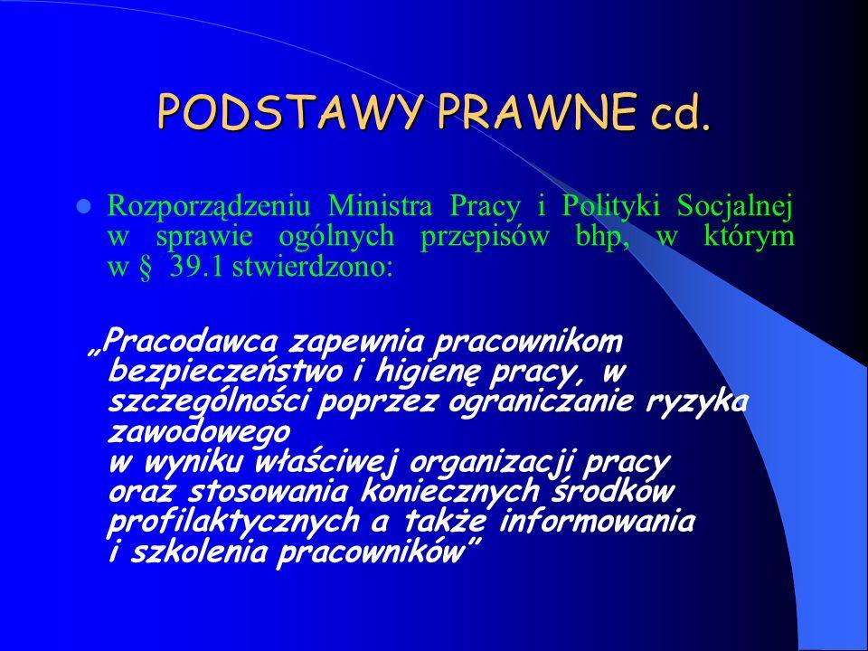 PODSTAWY PRAWNE cd. Rozporządzeniu Ministra Pracy i Polityki Socjalnej w sprawie ogólnych przepisów bhp, w którym w § 39.1 stwierdzono: