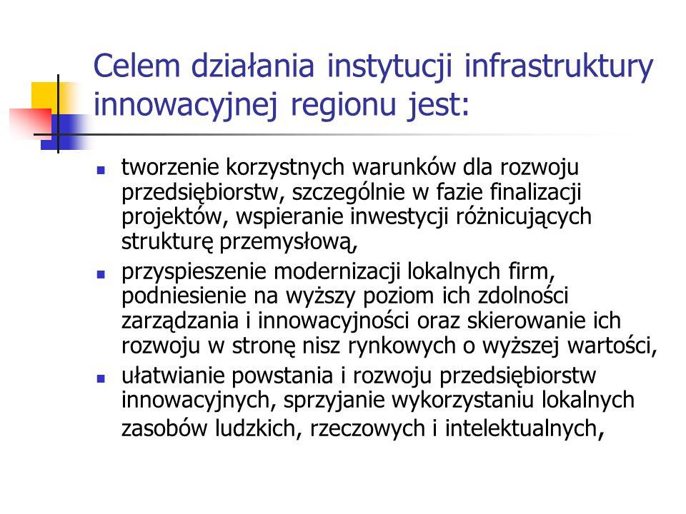 Celem działania instytucji infrastruktury innowacyjnej regionu jest: