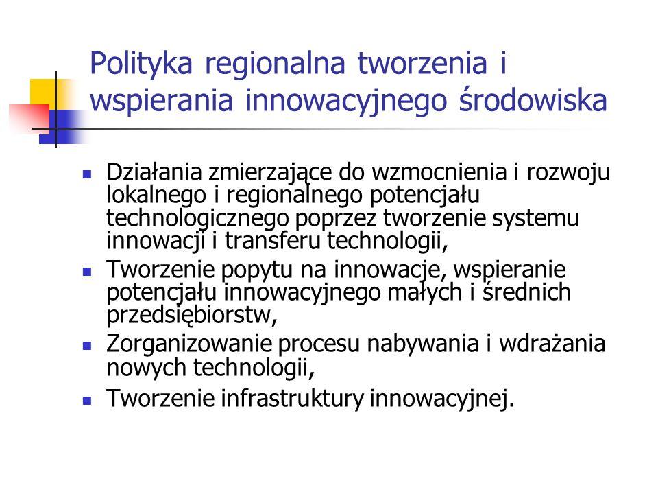 Polityka regionalna tworzenia i wspierania innowacyjnego środowiska