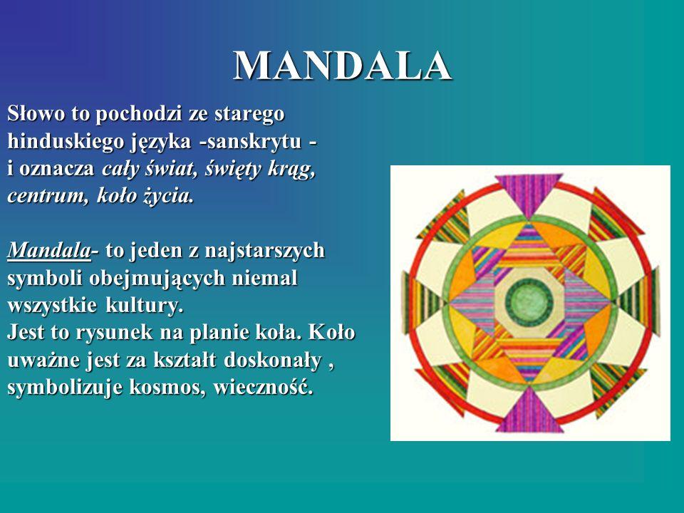MANDALA Słowo to pochodzi ze starego hinduskiego języka -sanskrytu -