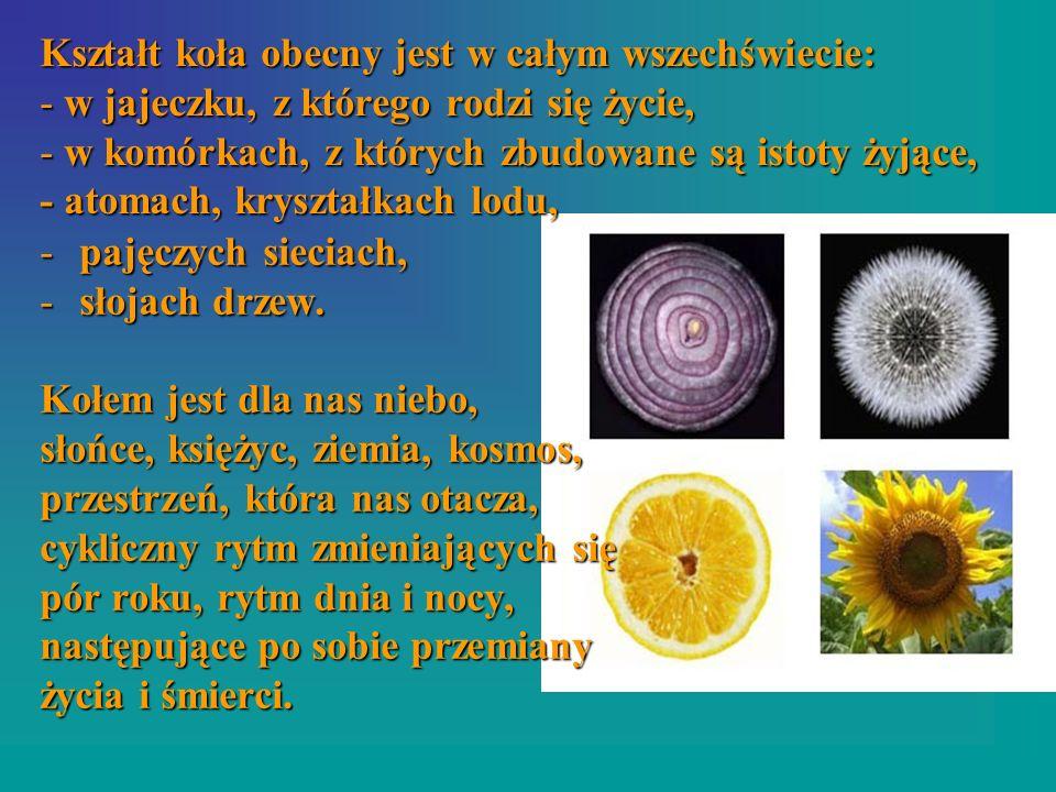 Kształt koła obecny jest w całym wszechświecie: - w jajeczku, z którego rodzi się życie, - w komórkach, z których zbudowane są istoty żyjące, - atomach, kryształkach lodu,