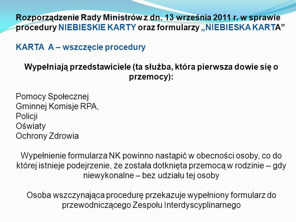 Rozporządzenie Rady Ministrów z dn. 13 września 2011 r