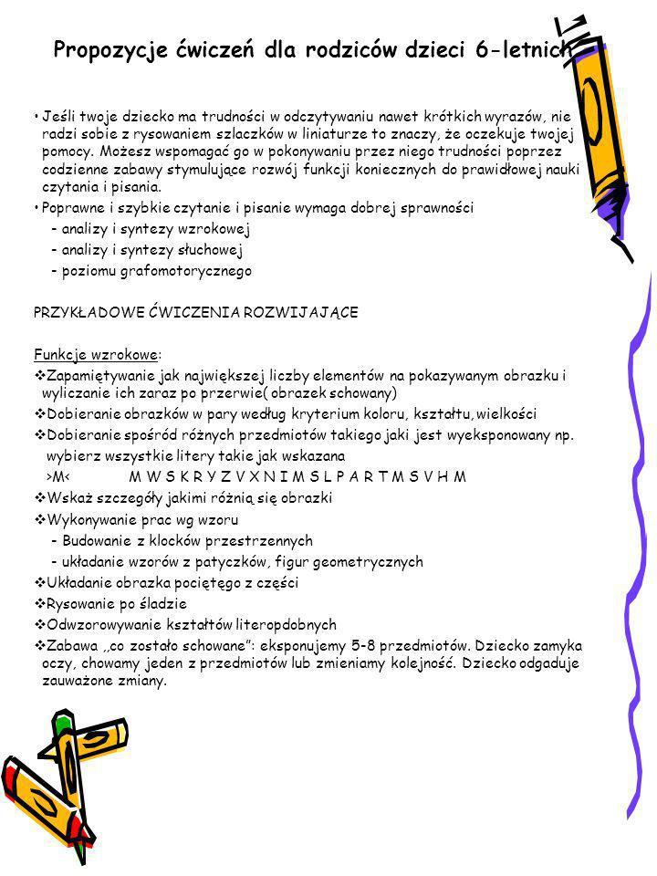 Propozycje ćwiczeń dla rodziców dzieci 6-letnich