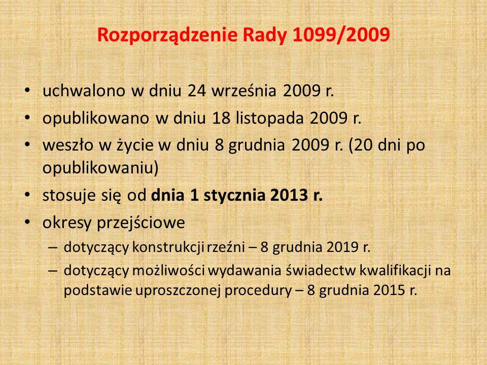 Rozporządzenie Rady 1099/2009 uchwalono w dniu 24 września 2009 r.
