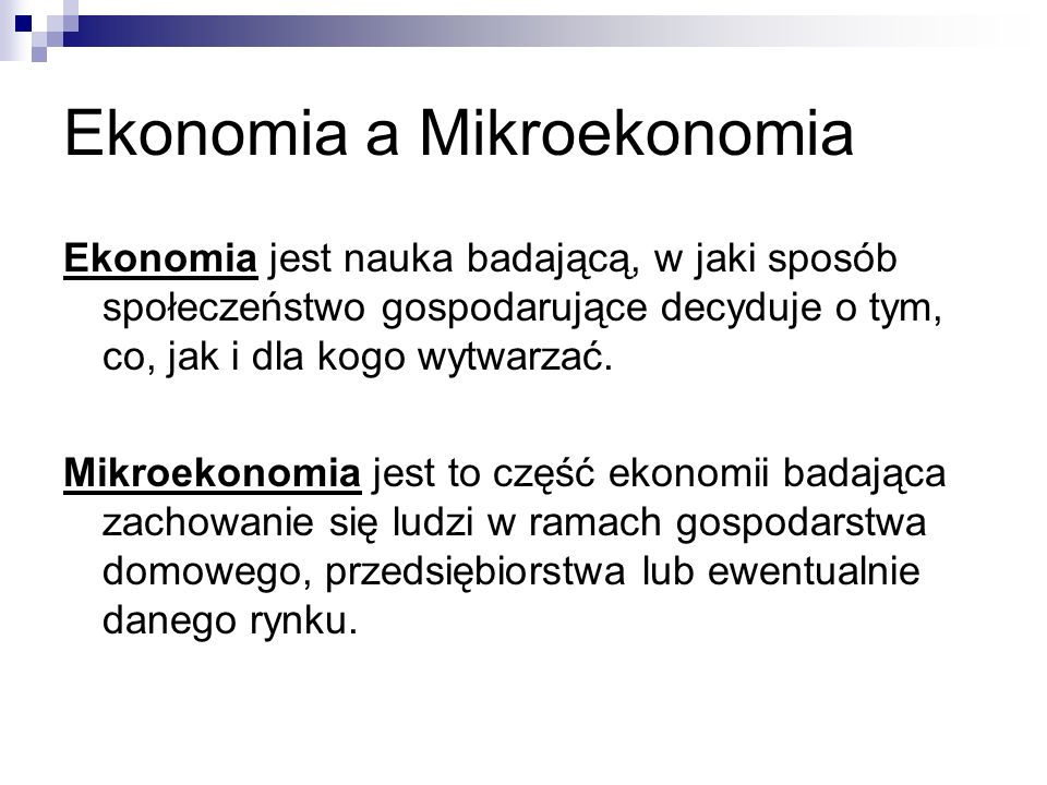Ekonomia a Mikroekonomia