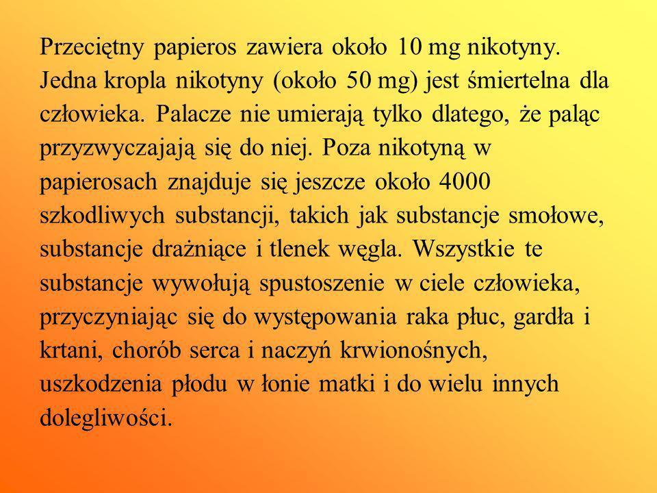 Przeciętny papieros zawiera około 10 mg nikotyny.