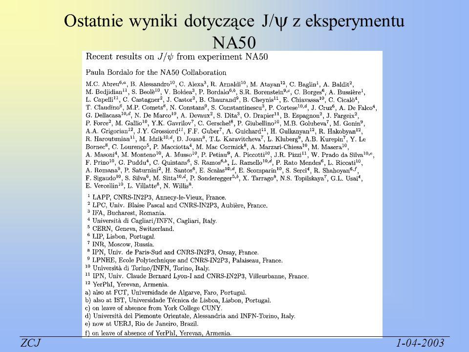 Ostatnie wyniki dotyczące J/ z eksperymentu NA50
