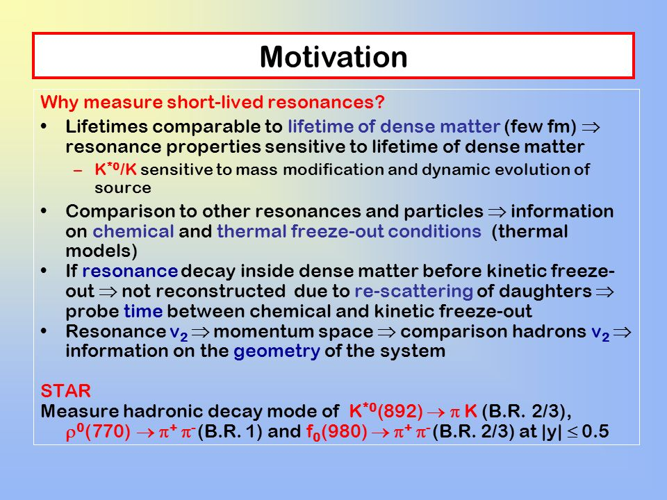 Motivation Why measure short-lived resonances