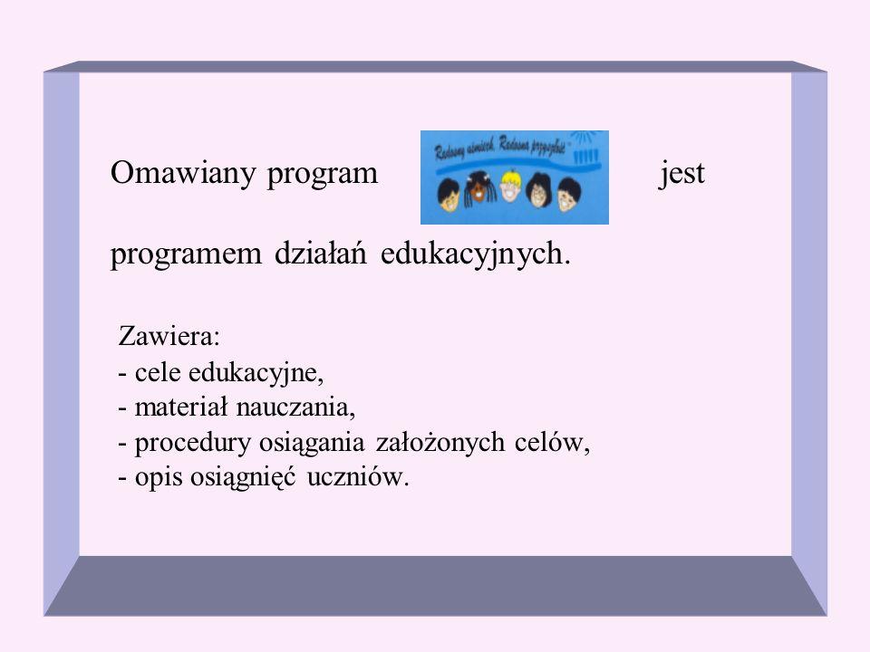Omawiany program jest programem działań edukacyjnych