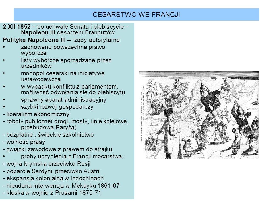 CESARSTWO WE FRANCJI 2 XII 1852 – po uchwale Senatu i plebiscycie – Napoleon III cesarzem Francuzów.