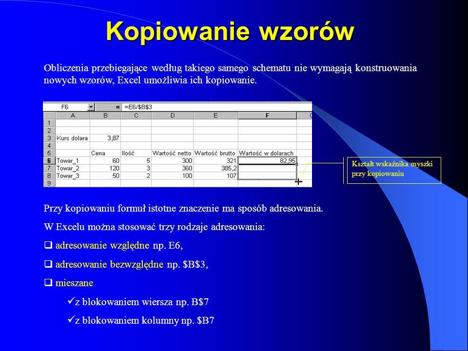Kopiowanie wzorów Obliczenia przebiegające według takiego samego schematu nie wymagają konstruowania nowych wzorów, Excel umożliwia ich kopiowanie.